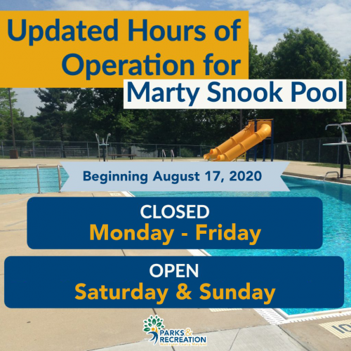 Marty Snook Pool Change of Hours in Operation